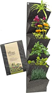 Pocket Garden Vertical Wall Hanging Planters - Fabric Wall 6 Pockets Measures 39 x 9 Inches Nonwoven Material, Instant Vertical Garden Pot - Perfect For Patio Balcony Flower Vegetable Indoor Outdoor