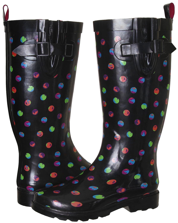 Capelli New York Ladies Dots Printed Tall Rubber Rain Boot