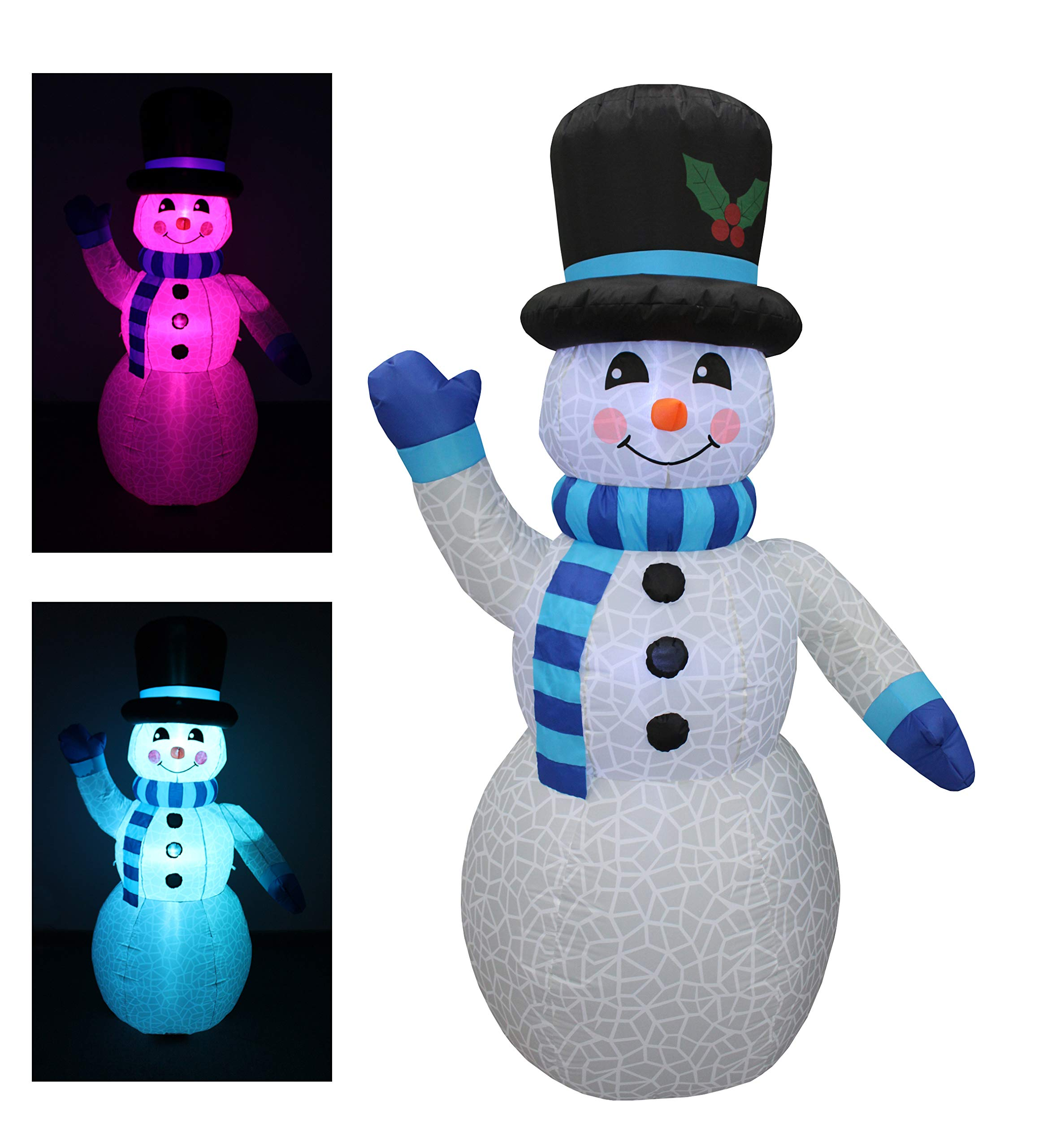 BZB Goods 6 Foot Tall Christmas Inflatable Snowman Multi Color LED Lights Decor Outdoor Indoor Holiday Decorations, Blow up LED Lighted Christmas Yard Decor, Giant Lawn Inflatable Home Family Outside by BZB Goods