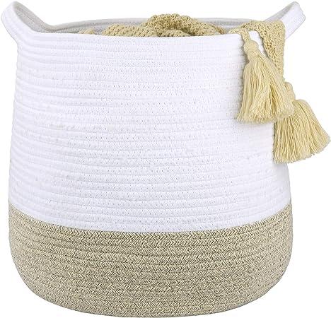 Large Cotton Rope Storage Basket with Handles, Versatile Organization