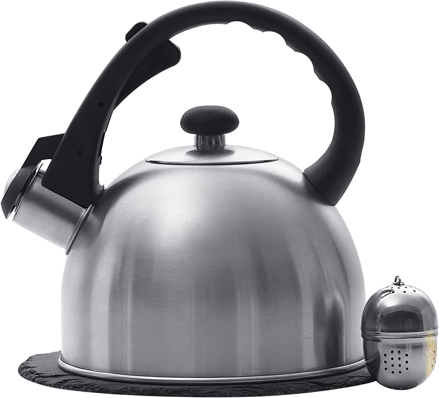 "Creative Home 1.5 Qt. Stainless Steel Tea Kettle with Tea Infuser and 7.5"" Slate Trivet, 3 pc Set"