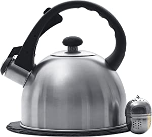 """Creative Home 1.5 Qt. Stainless Steel Tea Kettle with Tea Infuser and 7.5"""" Slate Trivet, 3 pc Set"""
