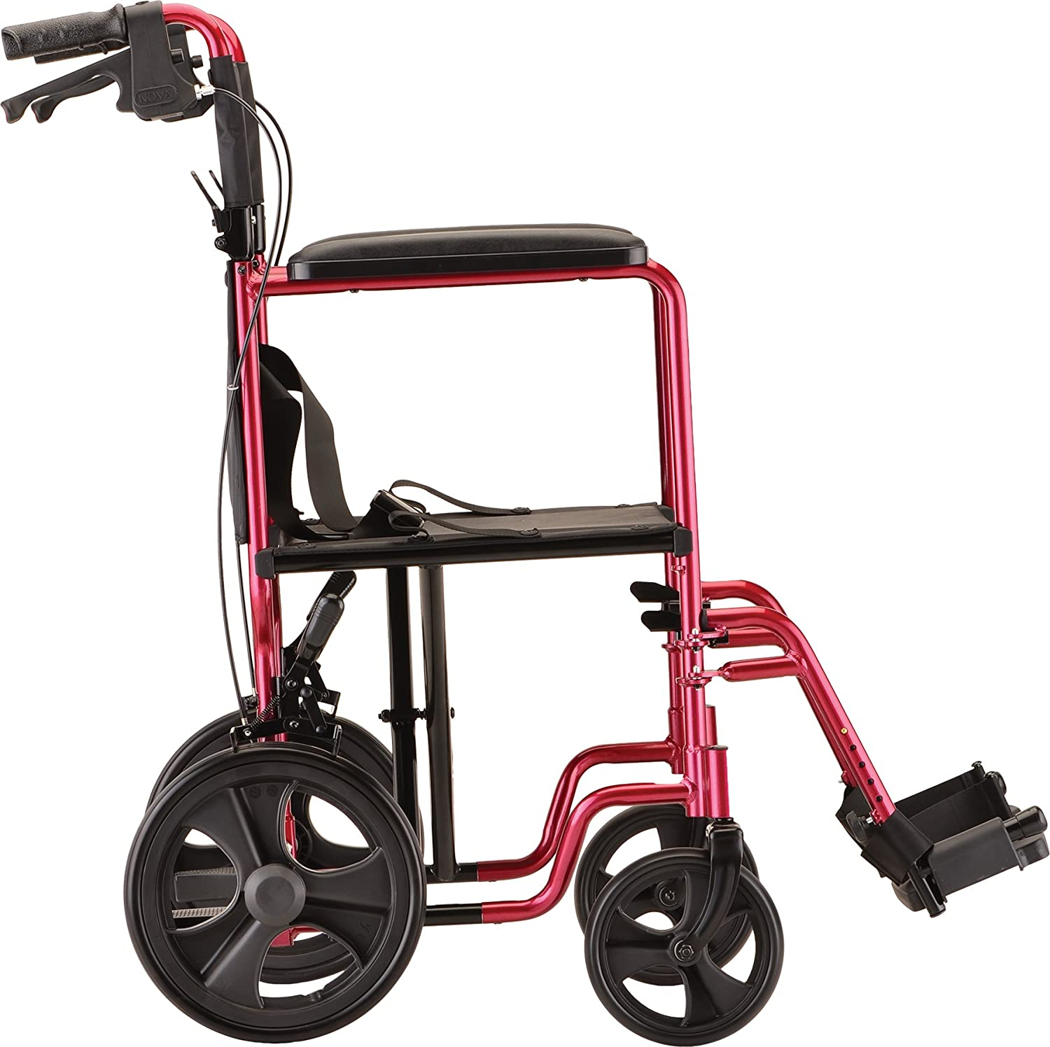 Transport chair amazon - Amazon Com Nova Medical Products 19 Lightweight Transport Chair With 12 Rear Wheels Hand Brakes Red Health Personal Care