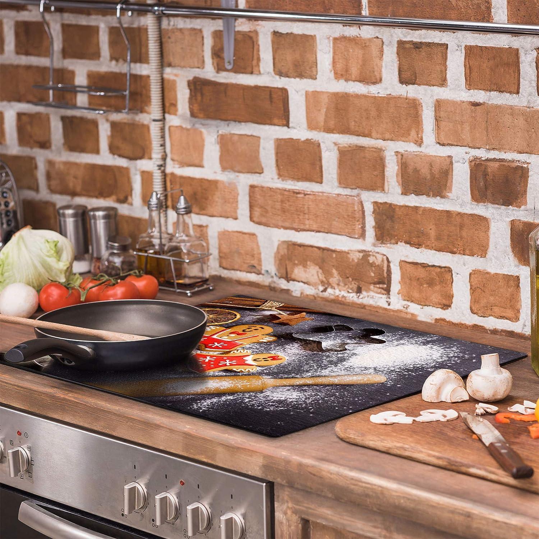 Plaque de protection universelle pour plaque de cuisson 60 x 52 cm Pour plaques de cuisson Protection contre les /éclaboussures Planche a d/écouper en verre tremp/é D/écoration Pate QTA