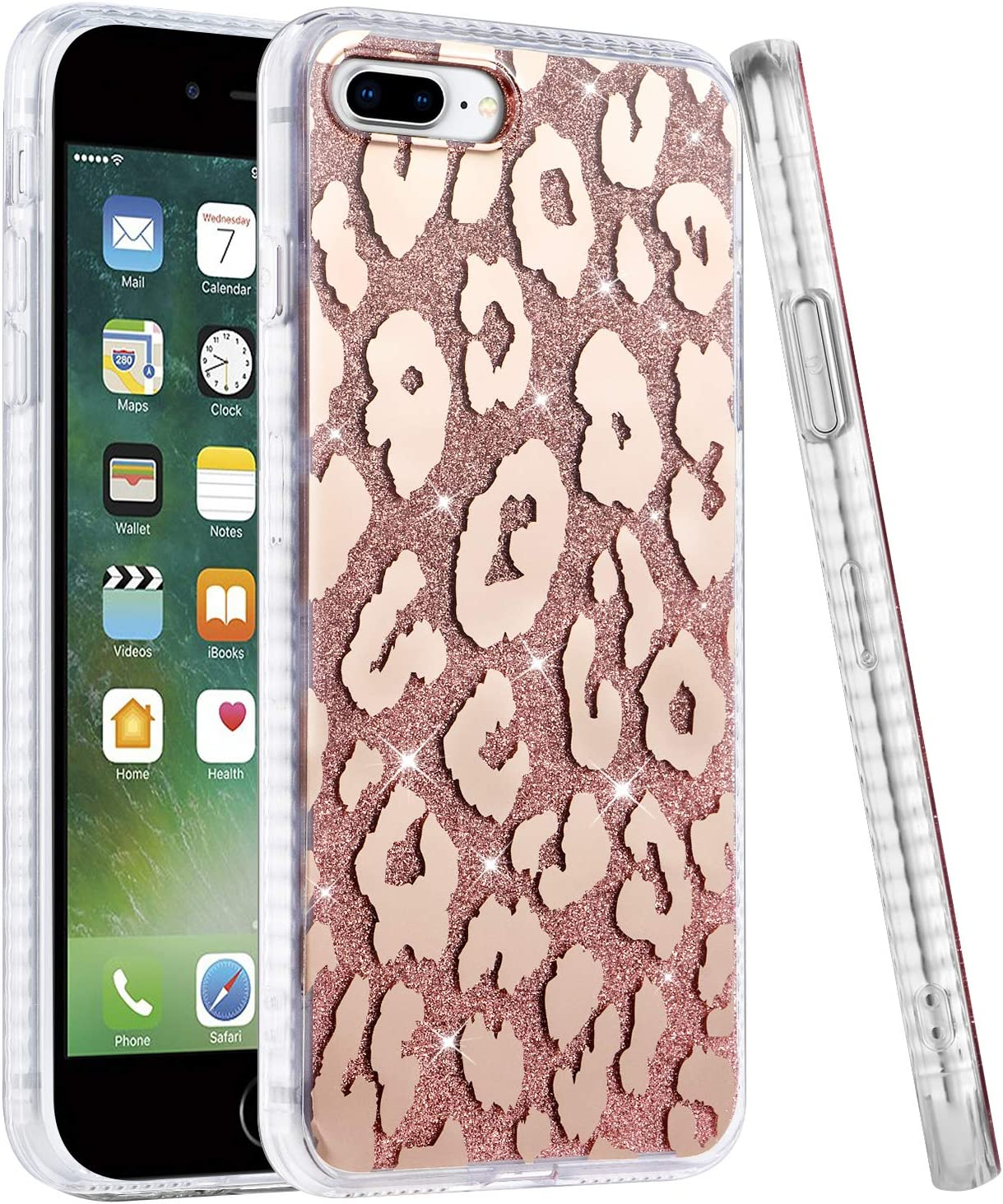 TEAUGHT iPhone 7 Plus Case, iPhone 8 Plus Case 5.5 Inch Leopard Patterns Rose Gold Glitter Sparkle Design for Girls Women Slim Soft Bumper Clear Edge Full Protection Bling Hard Back Cover