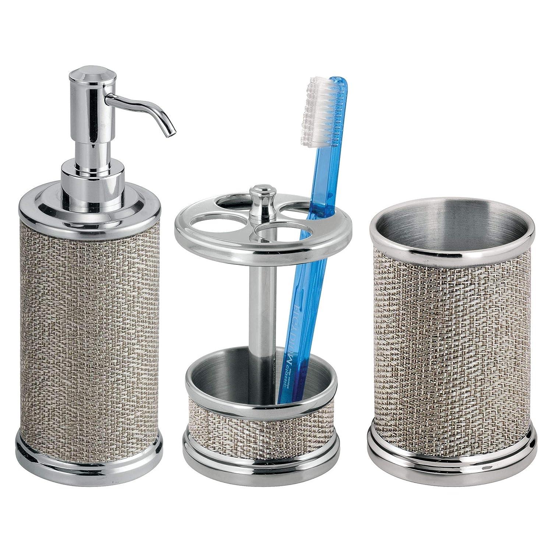 mDesign Set da 3 Accessori per il bagno in metallo – Set accessori bagno elegante composto da dispenser sapone liquido, portaspazzolino e bicchiere da lavandino – argento MetroDecor FBA_3738MDBA