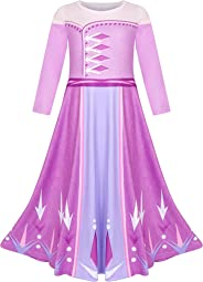 LQSZ Elsa Queen Anna Princess Ceremonial Robe Dresses Full Dress Birthday Party Dresses Children Christmas Costume