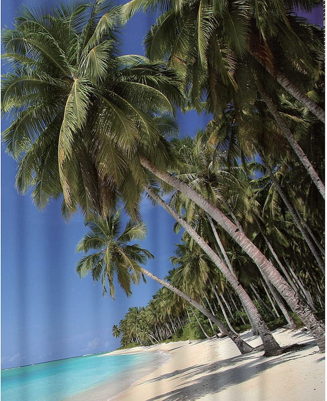 Cortina de ducha Caribe textil (poliéster) 180 x 200 cm Palmeras/Playa/vacaciones impermeable antimoho para lavable/bañera cortina cortina, alta calidad con anillos: Amazon.es: Hogar