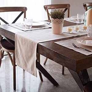 GuildreyTex Table Runner, Washable Non-Wrinkle Non-Slip Linen Texture, Decoration for Dinning and Parties (14x72 Inch, Beige)