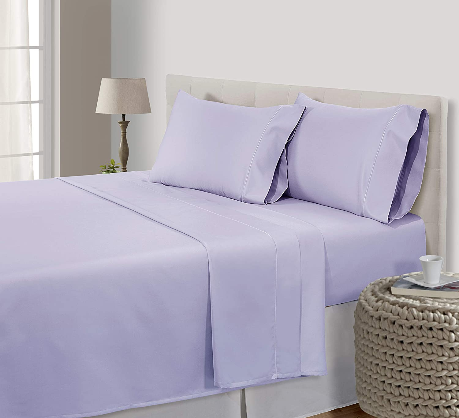 CHATEAU HOME COLLECTION Luxury 800 Thread-Count 100% Egyptian Cotton Bed Sheets,King-Pale Lavender Sheet Set,King Size Sheet Set, Sateen Weave,Fits Mattress Upto 18'' Deep Pocket,King Cotton Sheets