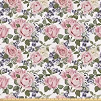 Lunarable Rose Fabric by The Yard, Floral Pattern with Roses Leaf Peony Plant Curl...