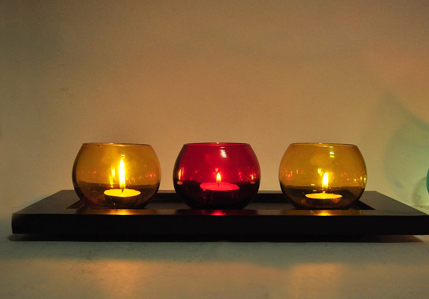 TiedRibbons Tealight Glass Holder Set of 3 (Multicolor, Glass) with Wooden Tray and T Light Candle for Diwali Decorations