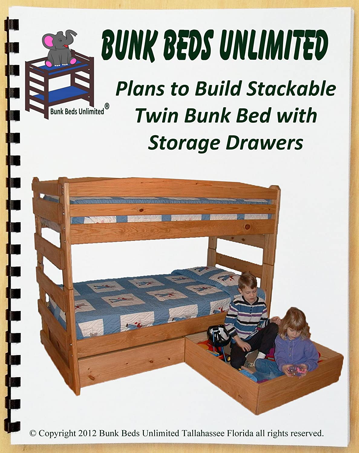 Bunk Bed Diy Woodworking Plan To Build Your Own Stackable Twin Over Twin With Two Large Storage Drawers And Hardware Kit For Bunk And Two Drawers Wood Not Included Woodworking Project Plans