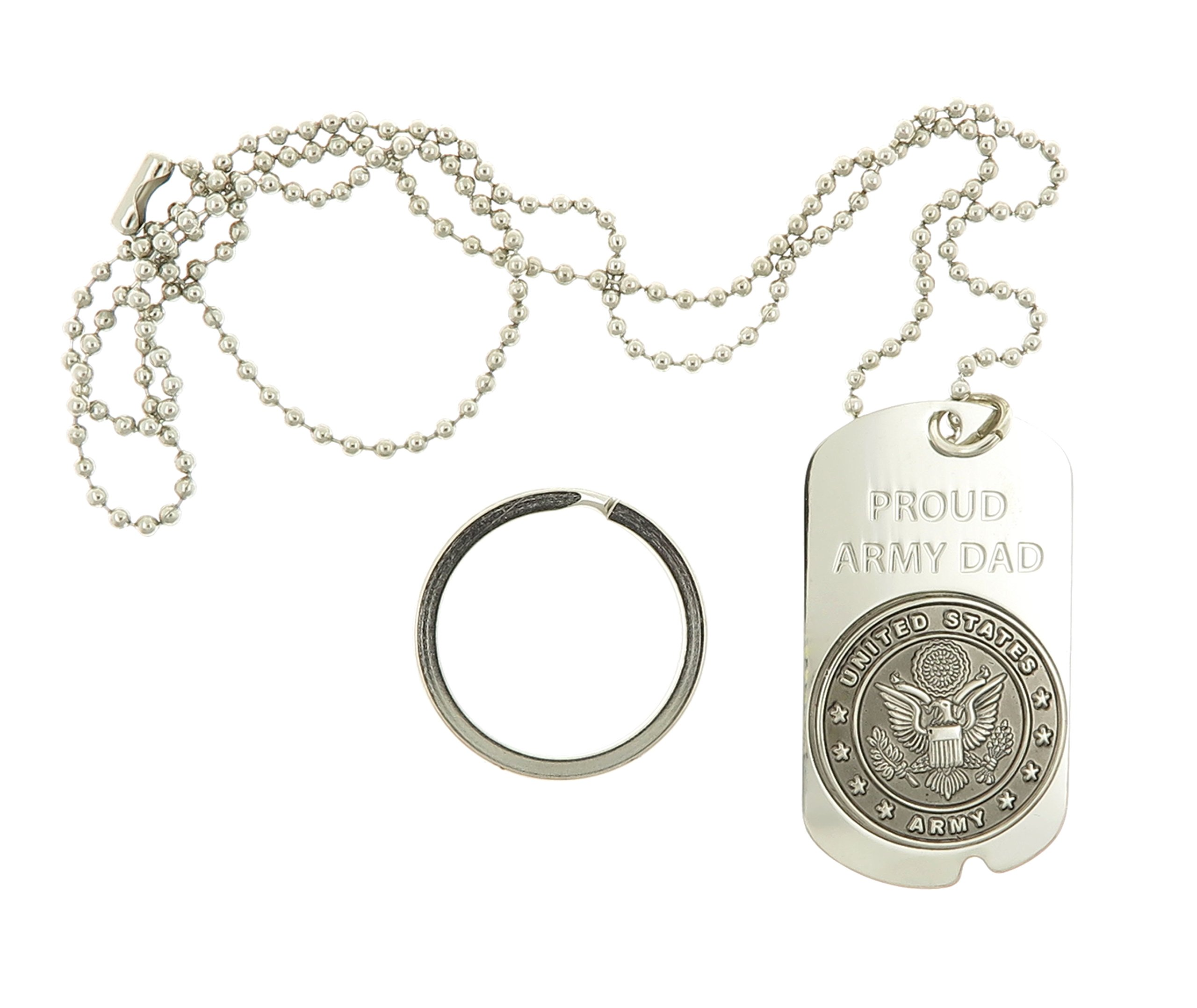 Dog Tag Key Chain Necklace US Military United States Proud Army Dad