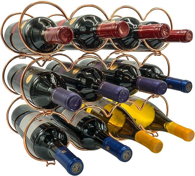 Sorbus® 3 pisos apilables botellero – Redonda Estilo Clásico Vino Estante para botellas – perfecto para bar, bodega, sótano, armario, Pantry, etc. – Caja para 12 botellas, metal: Amazon.es: Hogar