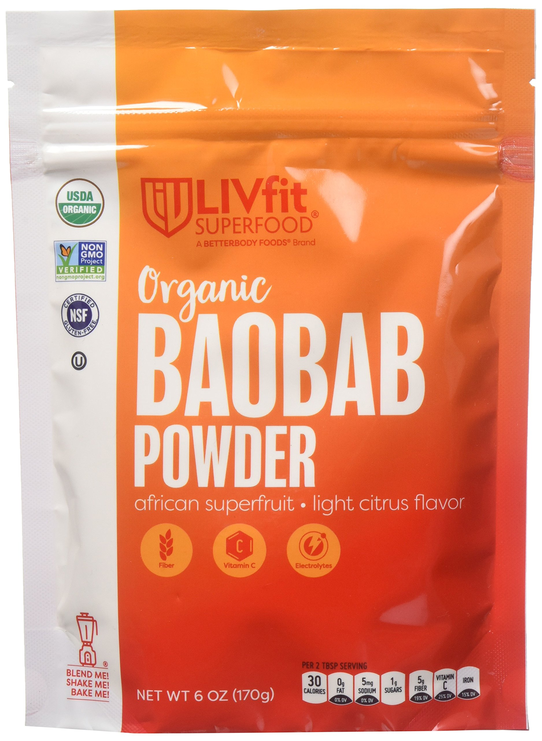 BetterBody Foods Livfit Superfood Organic Baobab Super Fruit Powder, 6 Ounce