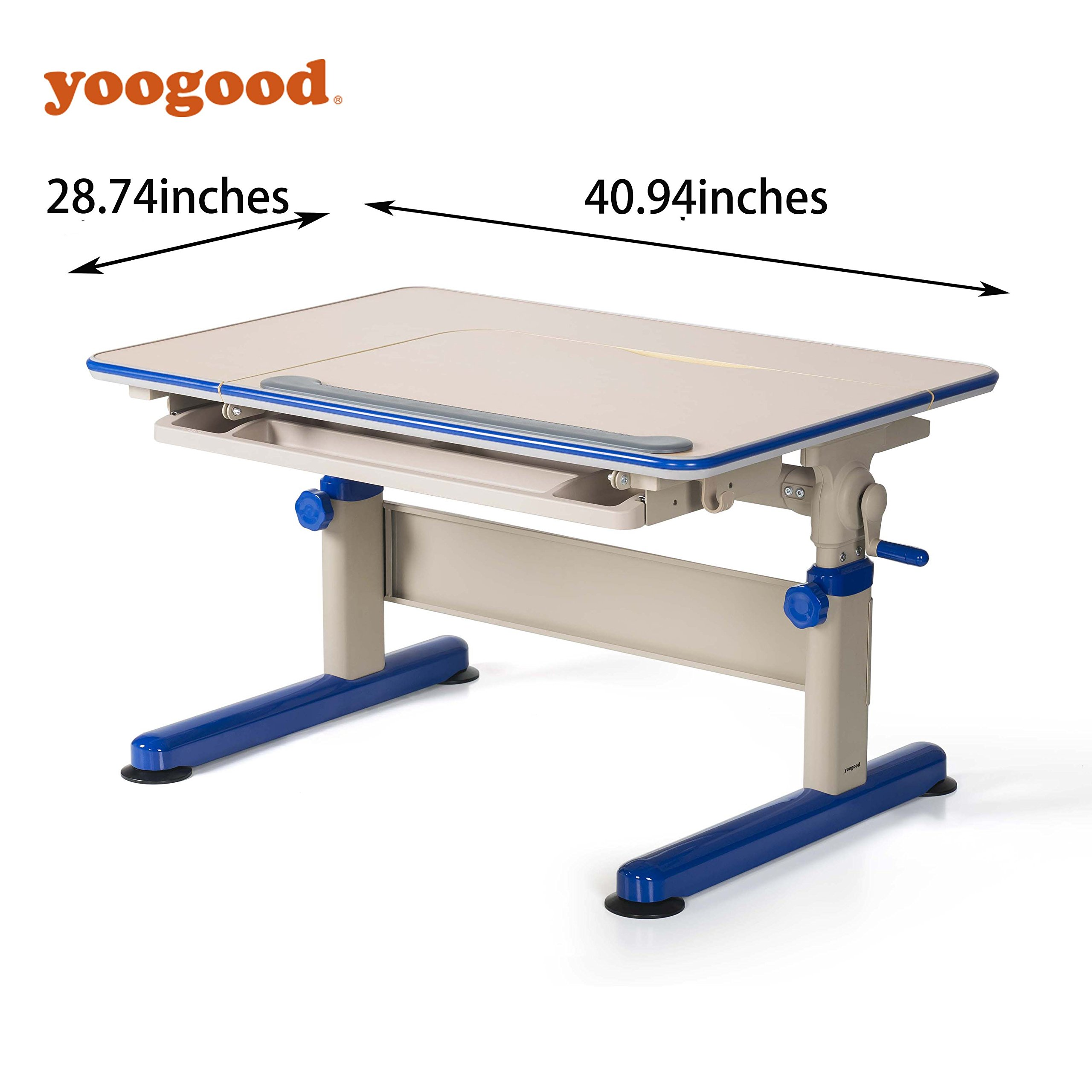 Height Adjustable Children Study Desk Stainless Steel Frame with Tilting Tabletop Drawer Storage PVC Bundle(Desk, Blue)