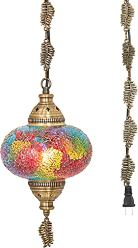 DEMMEX 2019 Hardwired or Swag Plug in Turkish Moroccan Mosaic Ceiling Hanging Light Lamp Chandelier Pendant Fixture Lantern, Hardwired OR Plug in with 15feet Cord Chain PlugIn16