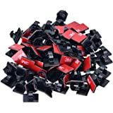 PASOW 100pcs Adhesive Cable Clips Cable Clamps Cable Tie Holder Wall Desktop Wire Cord Management for Car, Office and Home