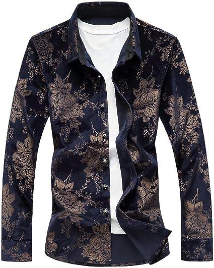 HENGAO Men s Long Sleeves Luxury Golden Floral Regular Fit Button Down  Velvet Dress Shirt, Navy e189f4aa29