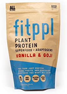 fitppl Plant Protein Superfood + Adaptogens (Vanilla & Goji) | Organic Ingredients, Stevia-Free, Gluten-Free, Vegan, Non-GMO, All Natural, Eco-Friendly Protein Powder - (20 Servings)