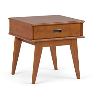 Simpli Home 3AXCDRP-02-TK Draper Solid Hardwood 22 inch wide Mid Century Modern End Table in Teak Brown