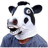 CreepyParty Deluxe novità Halloween Costume Party Latex Testa di animale Maschera Vacca