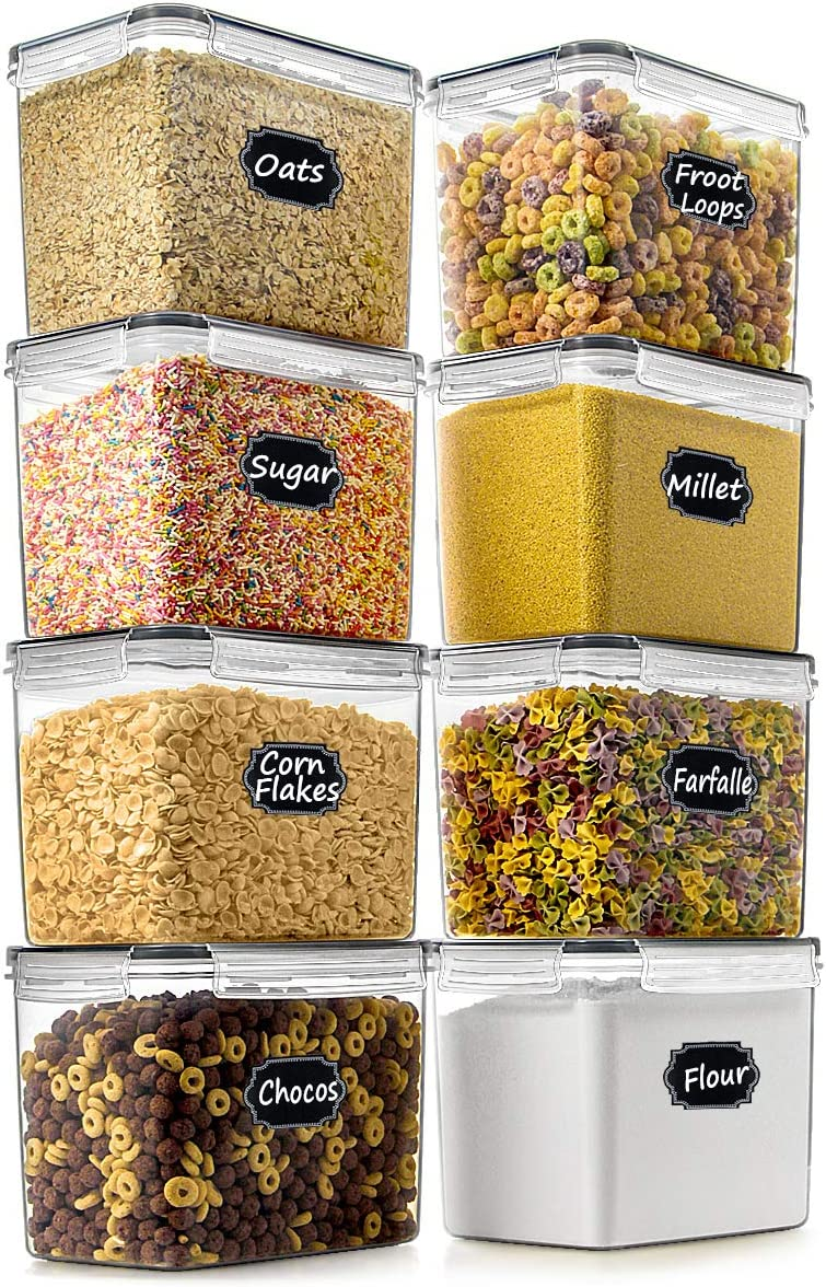 Food Storage Container - Wildone Airtight Food Storage Containers Set of 8 [3.6L/3.3QT] for Sugar, Flour, Snack, Baking Supplies, with 4 measuring cups, 20 Labels & 1 Marker