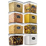 Food Storage Container - Wildone Airtight Food Storage Containers Set of 8 [3.6L/3.3QT] for Sugar, Flour, Snack, Baking Suppl