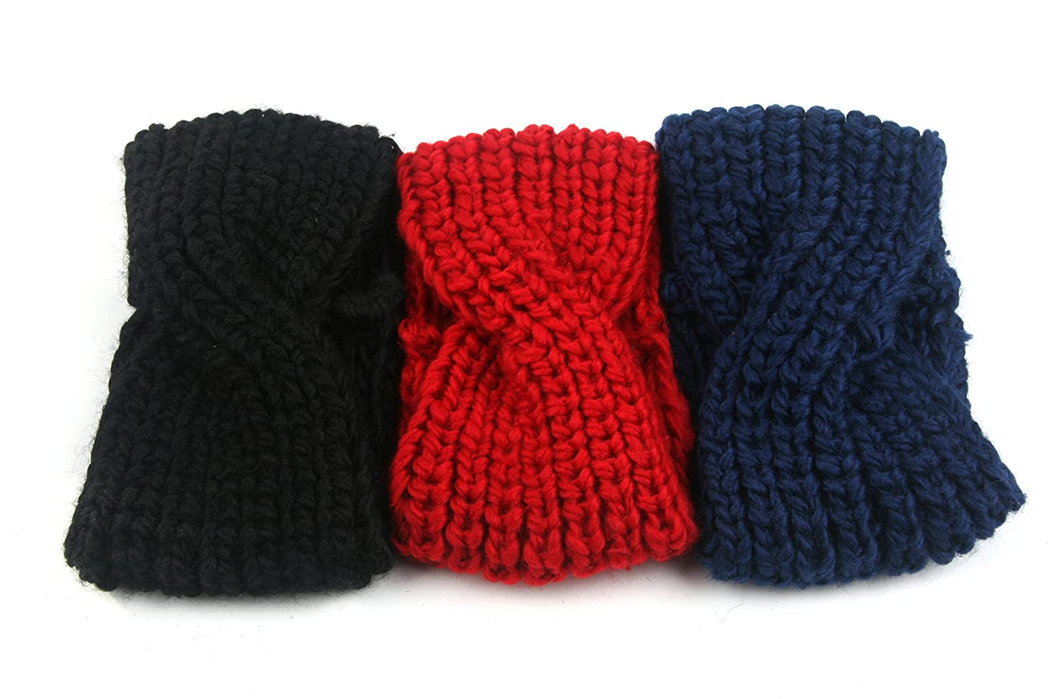 3pcs. Chunky Knit Turban Headband Ear Warmer 904HB 904HB-BkRdBl