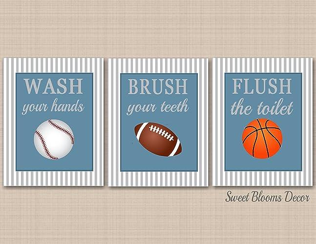 Sports Bathroom Decor,Kids Sports Bathroom Wall Art,Soccer Football  Baseball Basketball Bathroom,