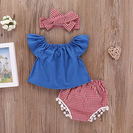 3PCS Outfit Set Baby Girls Summer Tops Plaid Tassel Briefs with Headband