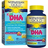 Norwegian Gold - Kids DHA - Omega 3 fish oil supplement - fruit punch flavor - brain and bone health - 60 chewable softgels - a Renew Life brand