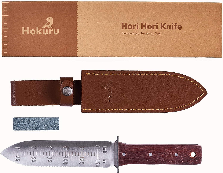 Hokuru Hori Hori Knife - Landscaping, Digging, Weeding, Cutting, Planting Gardening Tool with Leather Sheath, Stainless Steel Blade and Sharpening Stone