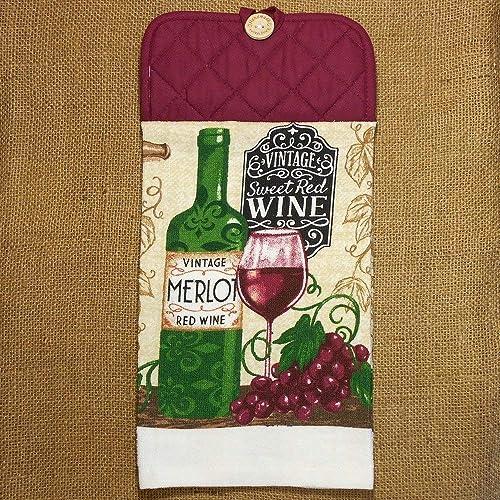 Amazon Com Vintage Wine Themed Hanging Dish Towel Kitchen