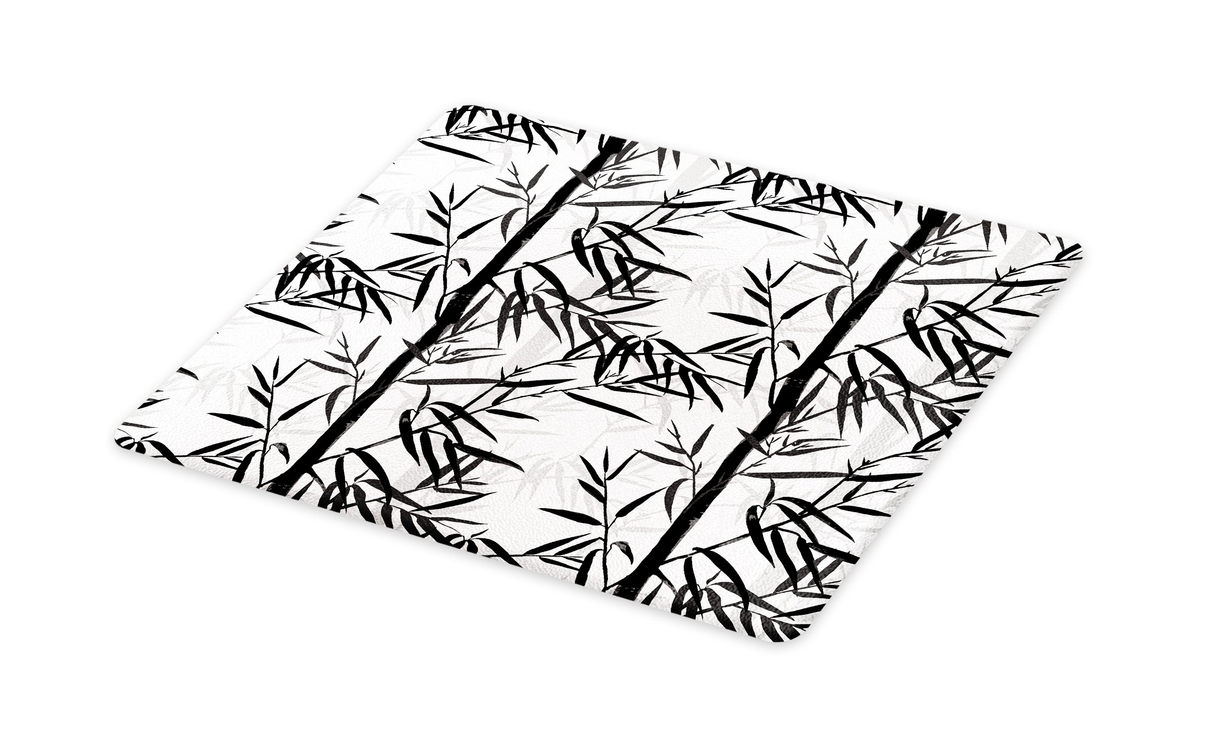 Lunarable Bamboo Cutting Board, Abstract Forest Leaves Floral Chinese Garden Plants Zen Spa Summer, Decorative Tempered Glass Cutting and Serving Board, Small Size, Black Charcoal Grey White