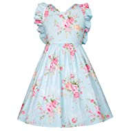 GRACE KARIN Girls Sleeveless Cross Back Print Cotton Casual Dress