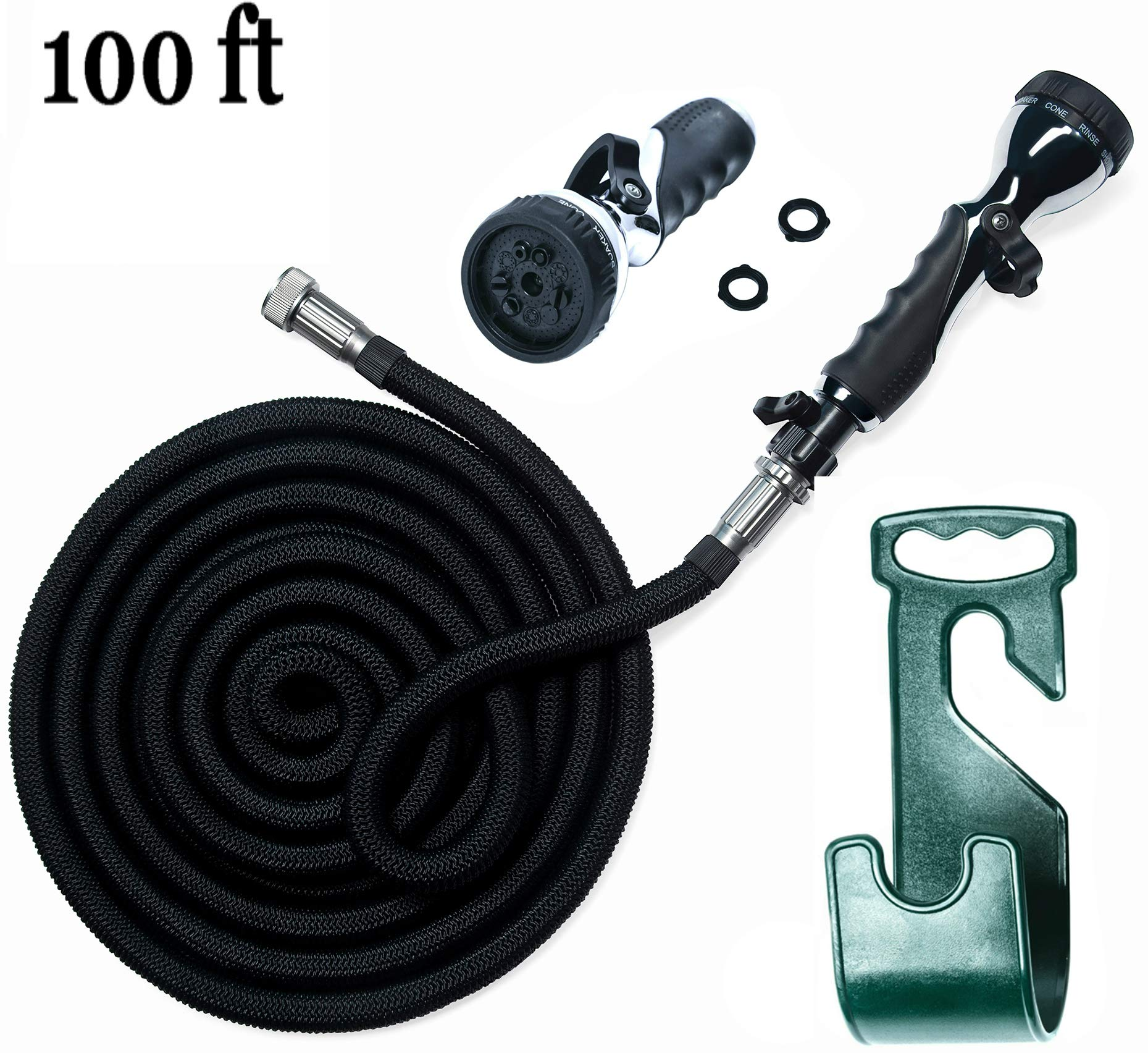 Water Hose – 100 Ft Expandable Garden Hose - Hose Holder & High Pressure Washer Spray Nozzle With 9 Settings – Best As Seen on TV Heavy Duty Kink Free Flex Hose for Car Washing & Watering Hose