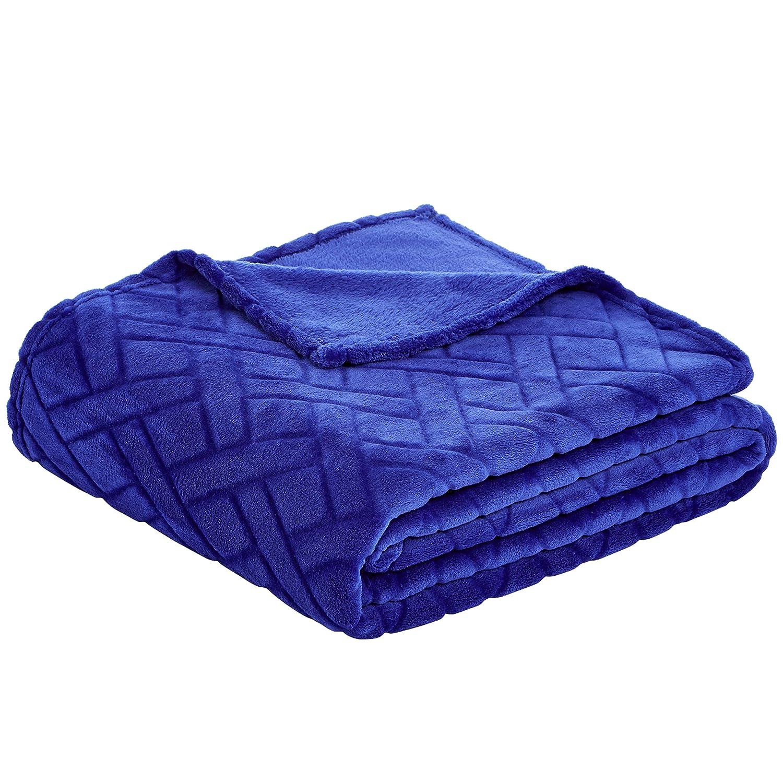 Basics Couverture en polaire gaufr/ée Bleu 150 x 200 cm