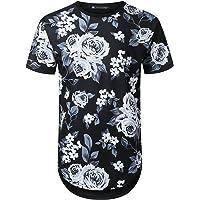 URBANTOPS Mens Hipster Hip Hop All Over Floral Graphic Longline T-Shirt