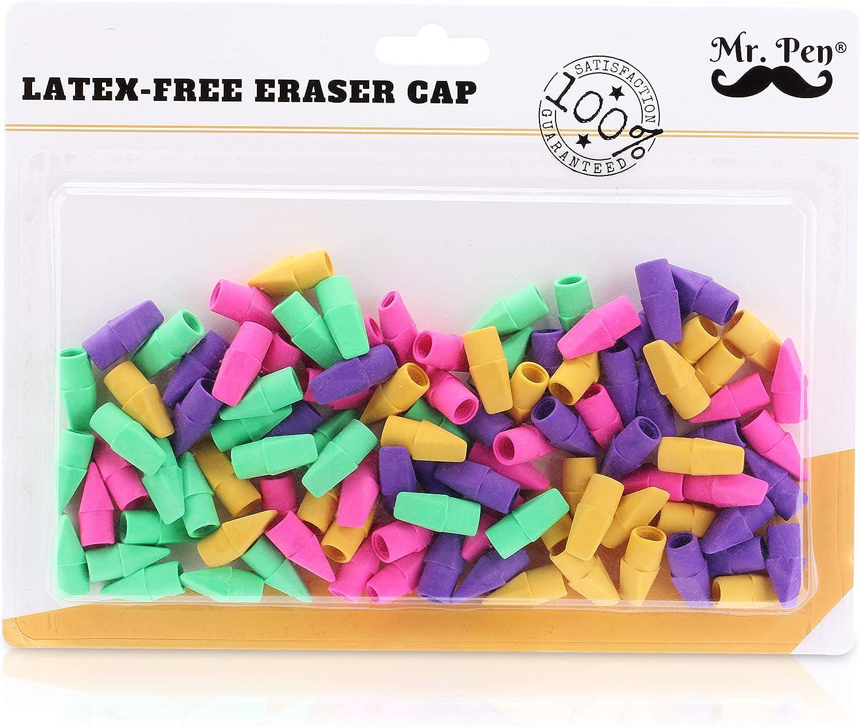 Suministros 100pcs l/ápiz gomas de borrar borradores Cap Gomas de borrar Escuela para Maestros Ni/ños Multicolor