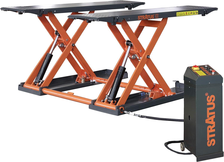 STRATUS Portable Open Center Automatic Lock Release Mid-Rise Scissor Lift SAE-MS8000E - 110V