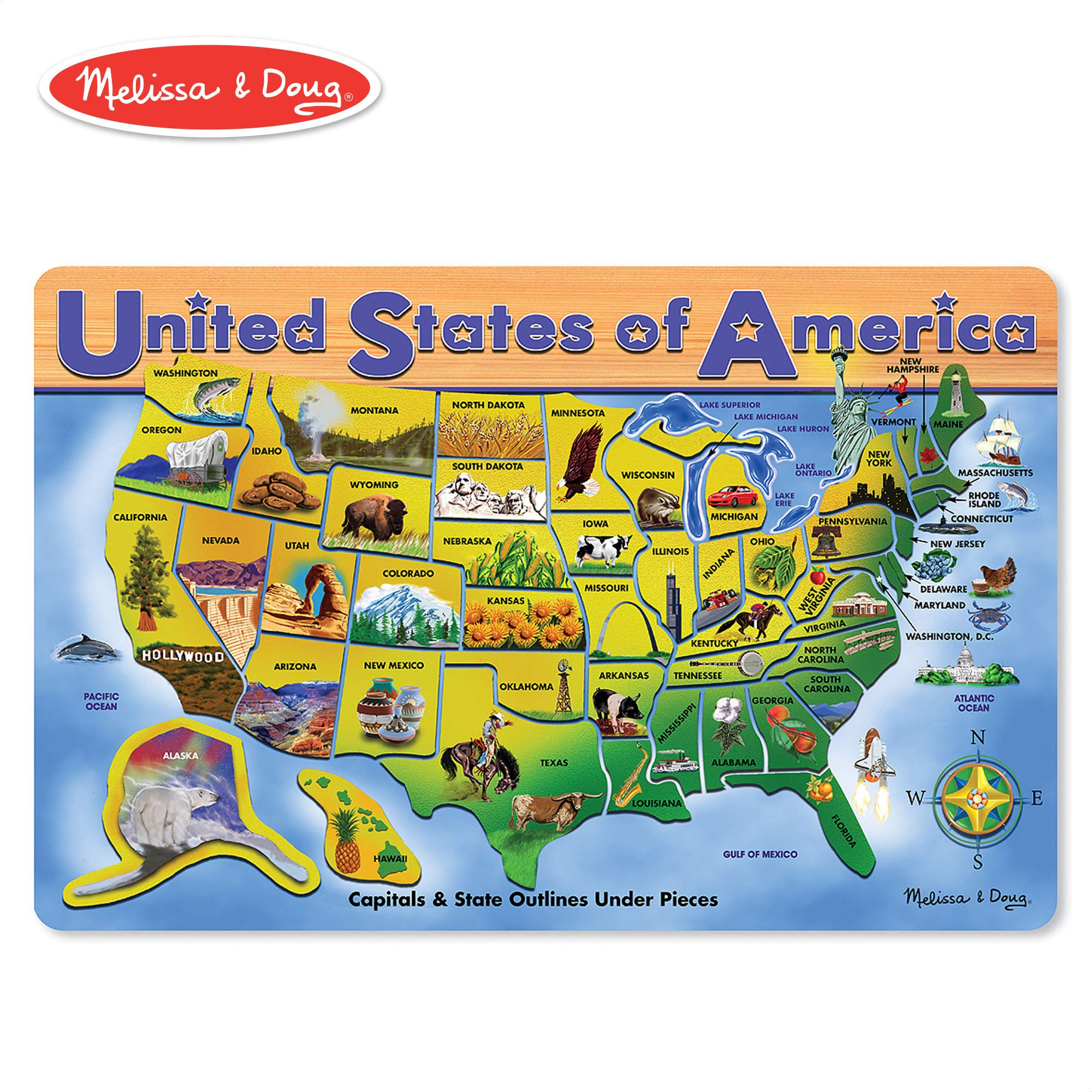 Melissa & Doug Wooden USA Map Puzzle, Wipe-Clean Surface, Teaches Geography & Shapes, 45 Pieces, 18.2″ H × 11.6″ W × 0.45″ L by Melissa & Doug