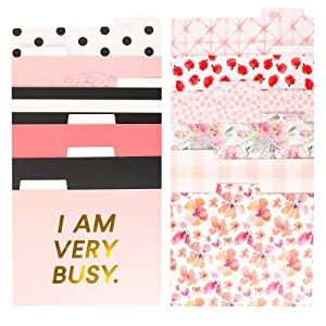 Decorative Gold Foil File Folders - 12-Count Colored File Folders Letter Size, 1/3-Cut Tabs, Includes Cute Designs and Gold foil Font, Office Supplies File Filing Organizers, 9.5 x 11.5 Inches