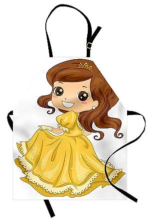 Princesa Delantal Por Lunarable Happy Girl En Amarillo Vestido De