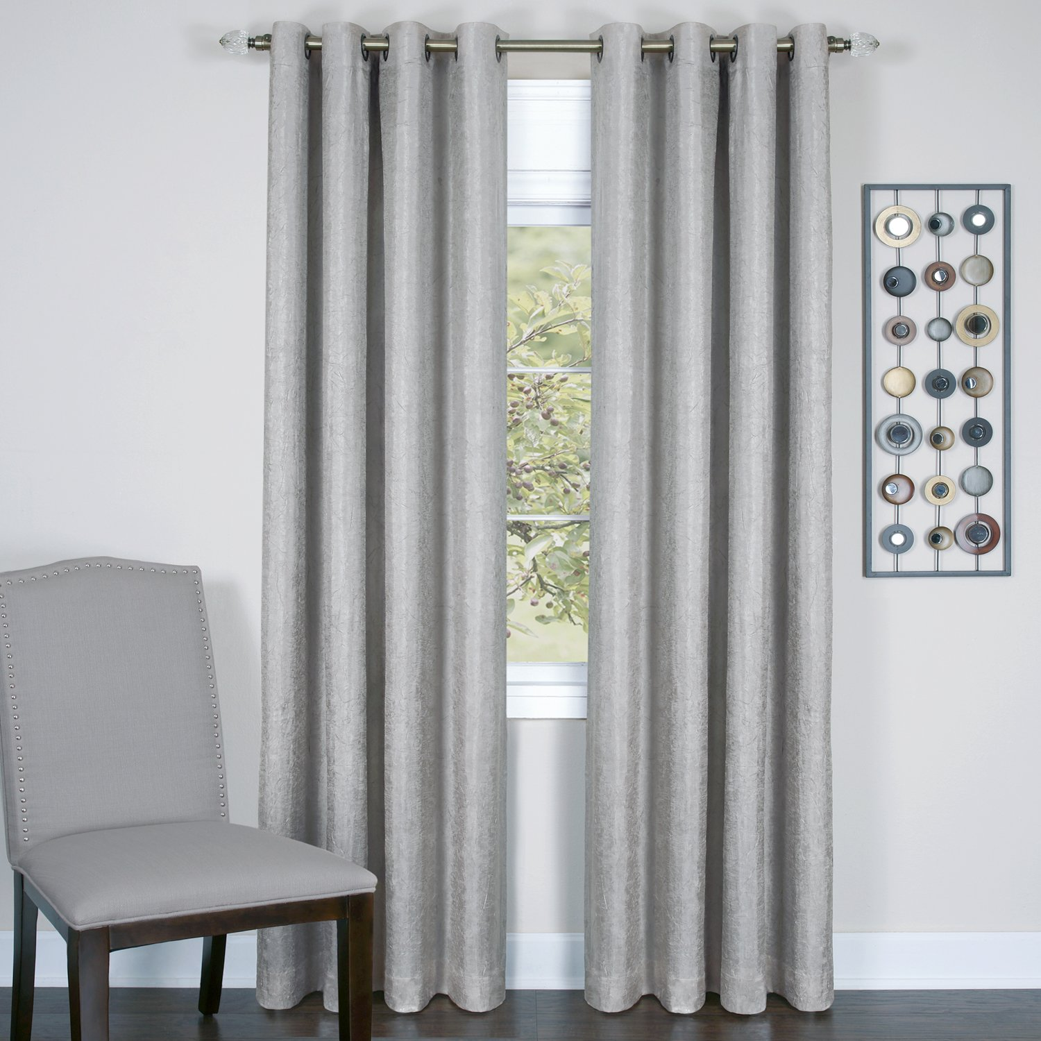 Achim Home Furnishings Taylor Lined Blackout Grommet Window Curtain Panel Silver