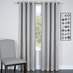 Achim Home Furnishings Taylor Lined Blackout Grommet Window Curtain Panel, 50 x 84, Silver