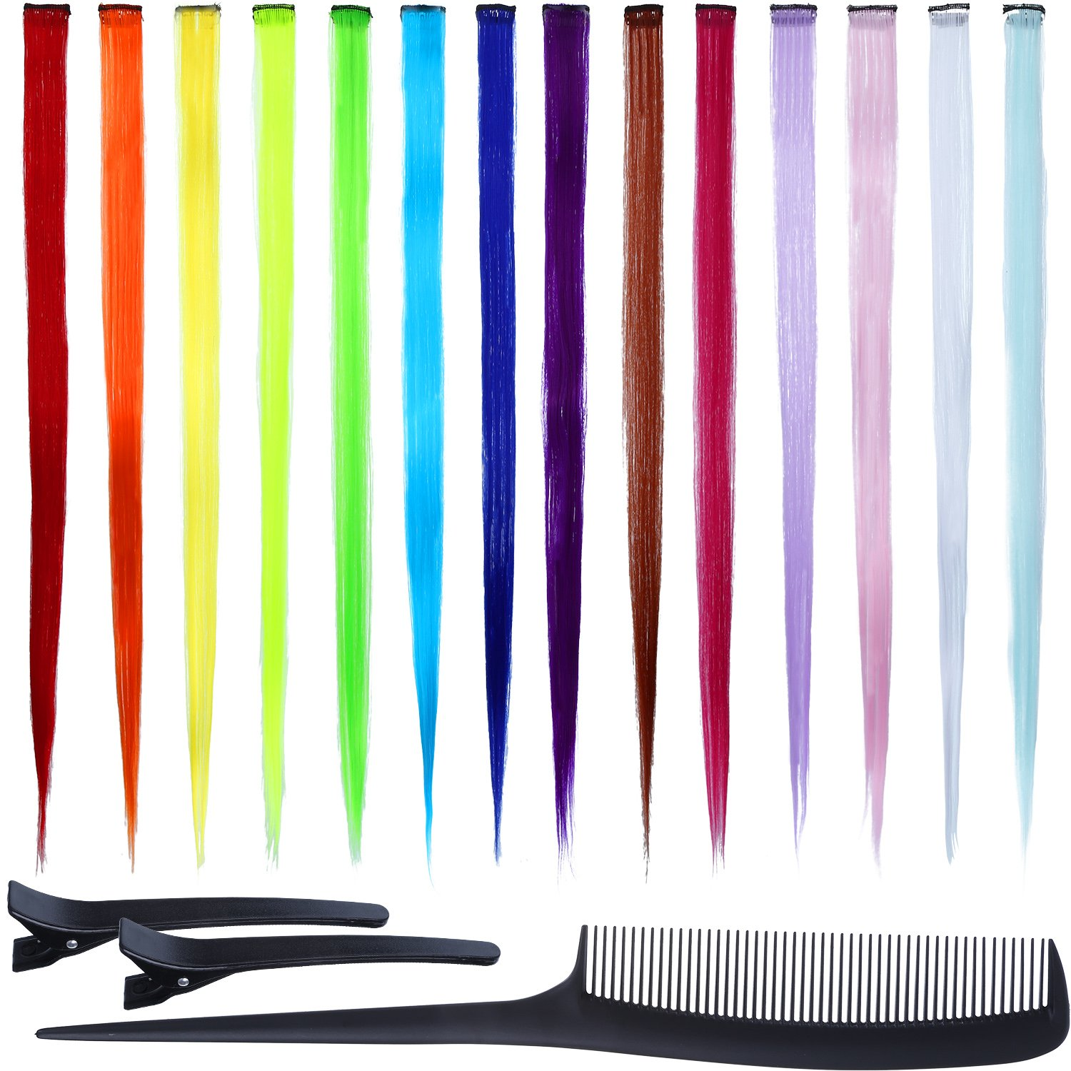 14 Pieces Multi Colors Hair Extensions Party Highlights Clip 23 Inches Straight Synthetic Hairpieces with Black Clip and Comb for Kids Girls Boao