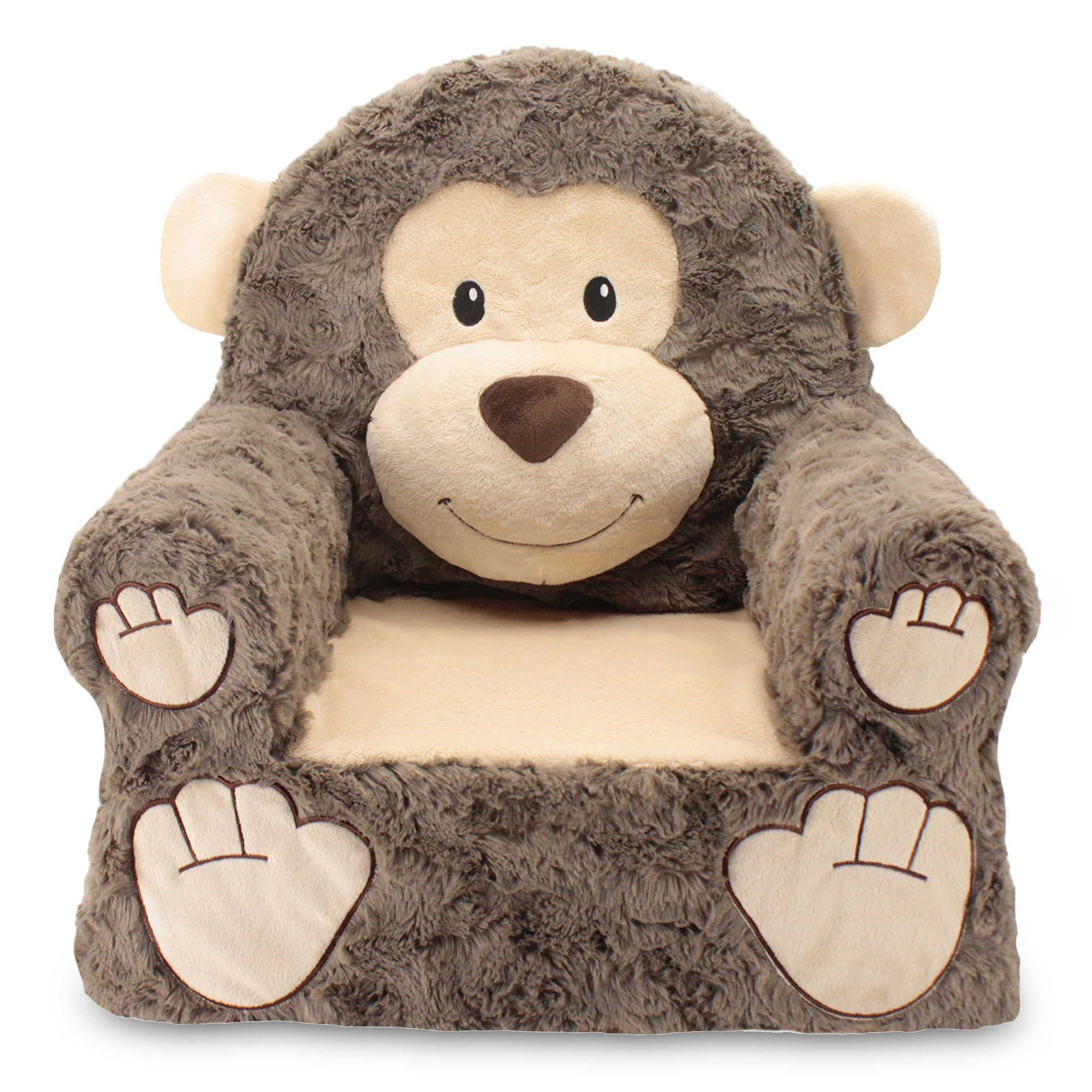 Sweet Seats Sturdy, Soft, Cozy and Adorable, Plush Monkey Chair in Brown with Sweet Embroidered Details on the Face, Hands and Feet