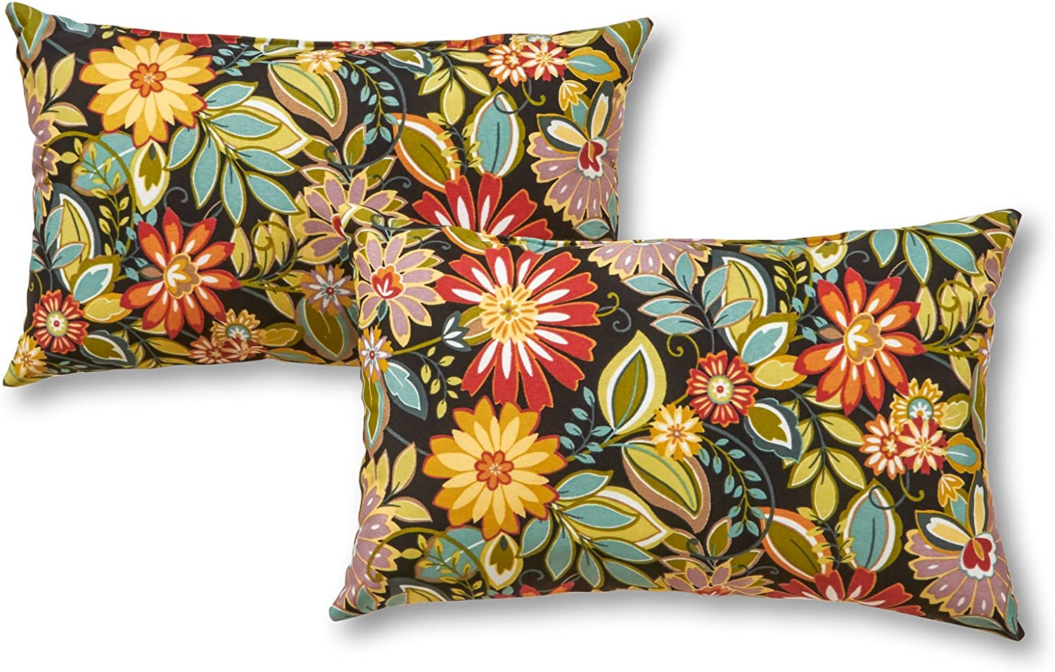 Greendale Home Fashions Set of 2 Outdoor 19x12-inch Rectangle Throw Pillows, Bloom